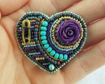 Bead Embroidered Rose of Hope Heart Brooch
