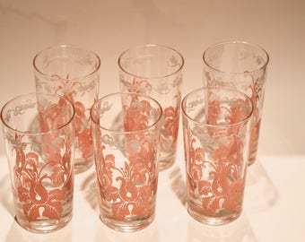 Beautiful set of 6 vintage coral drinking glasses
