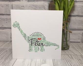 Dinosaur birthday card, personalised word art, special birthday, celebration, greeting card, keepsake gift, any dinosaur, unique card