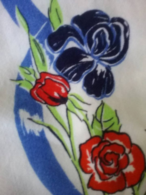 """30"""" Square Vintage Tablecloth, Vintage Print Tablecloth, 50s/60s Floral Tablecloth, Retro Blue and Red Floral Tablecloth, Square Tablecloth"""