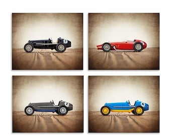 FLASH SALE til MIDNIGHT Set of Four Vintage Race Cars on Wood, Boys Room decor, Race Car prints