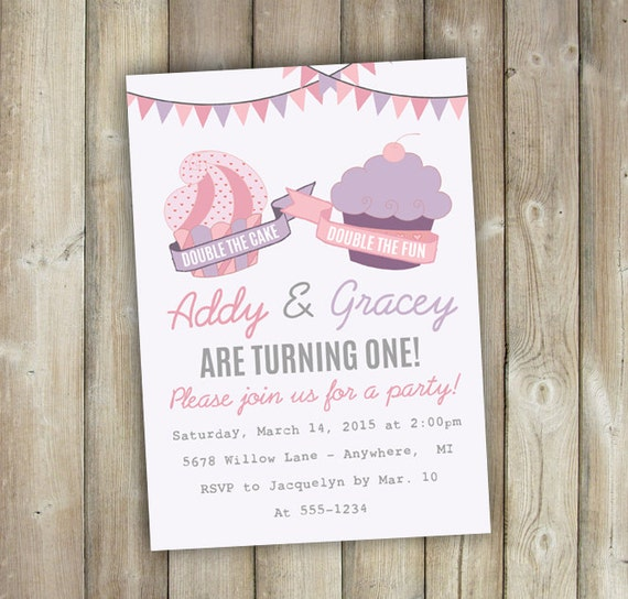 Twins first birthday invitation joint birthday invitation like this item filmwisefo Images