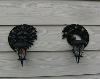 Outdoor Solar Light  Wall, Fence, Patio Wall Sconce - 1 pair Sun and Moon