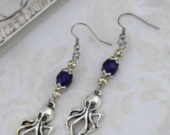 Small Octopus Dangle Earrings - Steampunk Octopus Earrings - blue Octopus Earrings, Purple earrings, Iridescent, gift for her