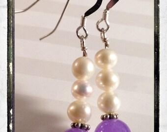 Orchid Purple Jade and Freshwater Pearls Sterling Silver Earrings