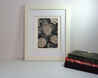 Floral Art Poster with dots of red, brown, burgundy monoprint Poster 9x12