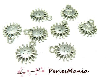 10 pendentif breloques PETIT SOLEIL VIEIL ARGENT ZN4832