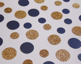 Navy Blue and Gold Dot Confetti, Wedding Reception Decoration, Table Scatter, Glitter Confetti, Bridal Shower Decor