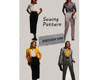 "McCall's 6462 Jones New York Woman's Jacket, Top, Skirt, Pants Suit Sewing Pattern in Size 10 Bust 32.5"" /61cm Vintage 1990's UNCUT"