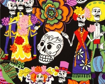 Los Novios Alexander Henry Skull Laminate Fabric - Black Background- By The Yard
