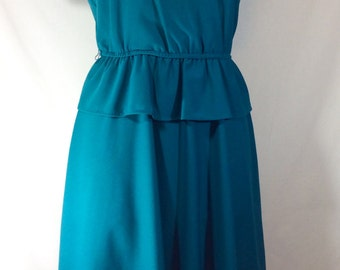 Womens Vintage Teal Faux Wrap Dress with Butterfly Sleeves and Peplum size S