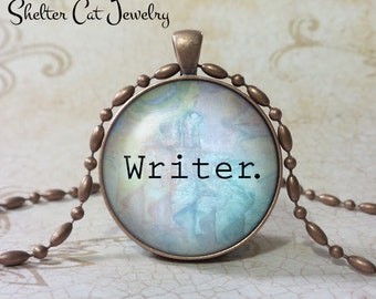 """Writer Necklace - 1-1/4"""" Circle Pendant or Key Ring - Handmade Wearable Photo Art Jewelry - Gift for Scribe, Writer, Novelist, Screenwriter"""