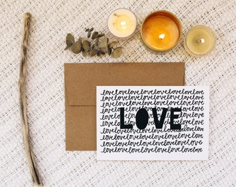 "Love 4""x6"" Greeting Card - Love Love Love"