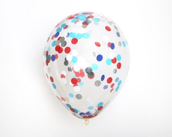 "Confetti Balloon - Patriotic - Choose 12, 16, 18, 36 inch - Large & Small - Red White Navy Blue Silver 1"" Circle Filled - Tissue Paper"