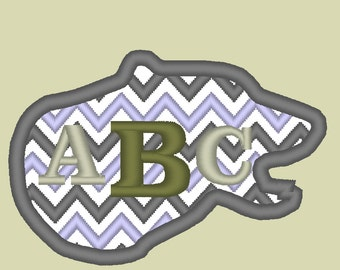 Bear Head Chevron monogram BX also ALL other (.pes .hus .dst .vp3 .vip .xxx .exp . jef)  - embroidery appliqué monogram embroidery design