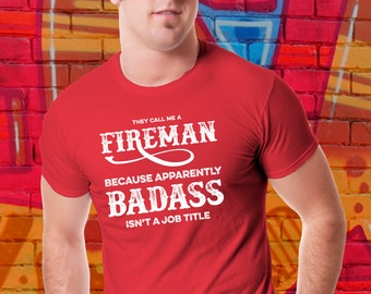 Firefighter T-shirt | Fireman Shirt | Gift for Fireman | Job Title Tee | Gift For Him | Tradesman Tshirt | Tattoo Ink Style | Plus Size Too
