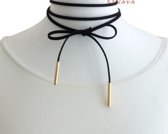 Choker necklace collar black gold necklace