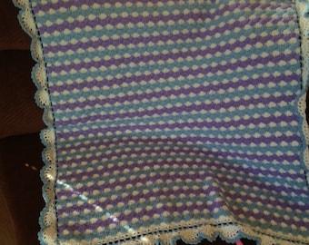 Crochet Baby Afghan Blanket ~ Handmade Blue White Purple ~ Baby Shower ~ Gift