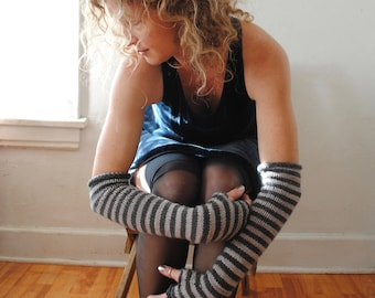 Hand Knit Striped Merino Wool Arm Warmers/Mitts
