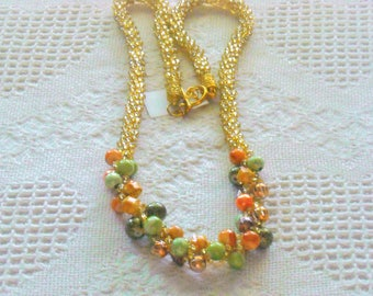 Beautiful Multi Color Beaded Kumihimo Necklace with Orange, Green, Golden Fancy Beads