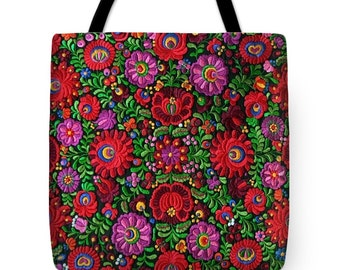 Tote Bag Hungarian Magyar Folk Embroidery Matyo Photo PRINTED on Fabric Handbag in 3 sizes HOT Fashion Accessory