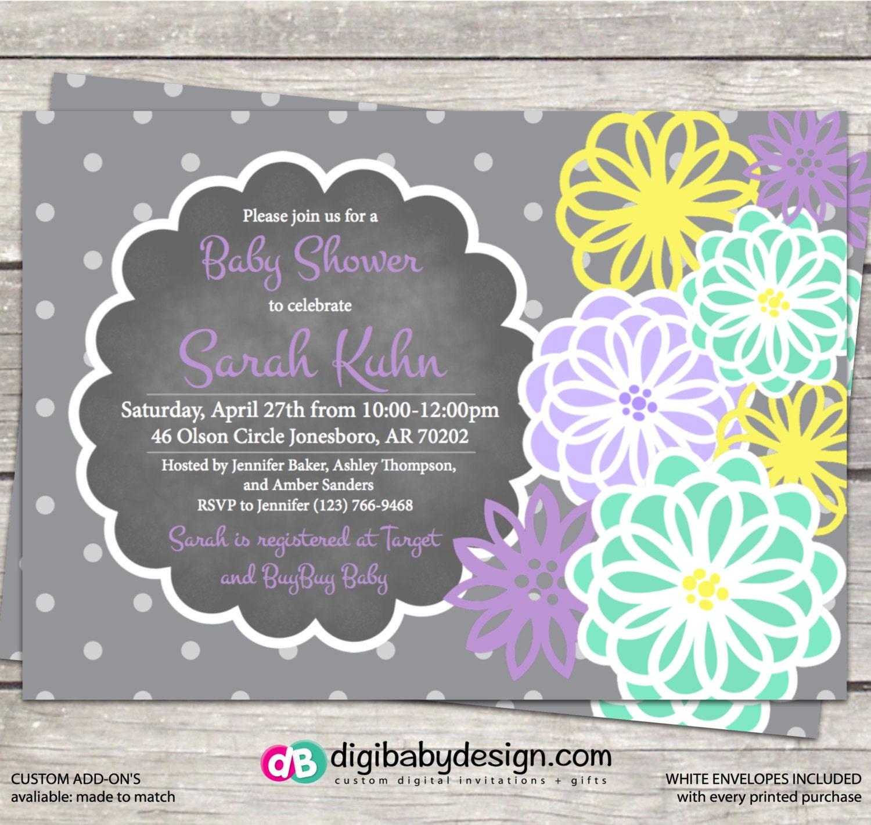Girl baby shower invitation Chalkboard baby shower invite