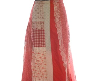 """70s Vintage Red & White Patchwork Maxi Skirt-Country Western-Rockabilly-Party-Wedding Guest-Prom-Carefree Scottsdale-34""""-40""""Waist-Size 14"""