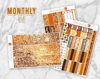 October Glitter Monthly Overview Planner Sticker kit for Erin Condren Life Planners