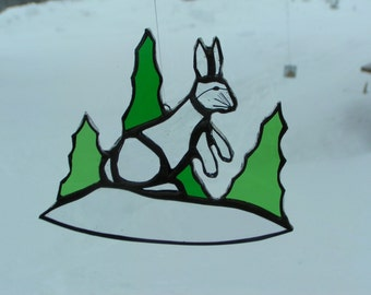 rabbit, stained glass suncatcher