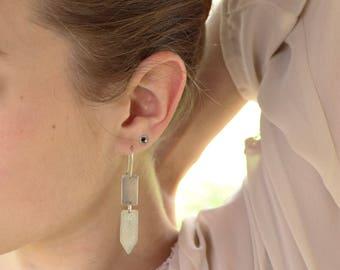 Sterling Silver Dangle Earrings, Edgy Modern Earrings