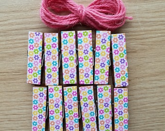 Pinky Bright Tiny Summer Flowers Clips w Twine for Photo Display - Chunky Little Clothespin Set of 12 - Girl Baby Birthday Shower