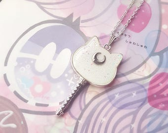Silver White Moon Cat Necklace