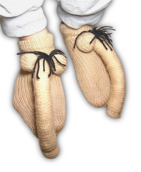 Slippers Knitted Penis Socks Crochet Big Mans Penis-1715