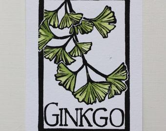 Ginkgo- Block Print Original- FREE SHIPPING