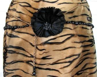 Vintage Belt Chain Beads Silk Rosette Double Mod Retro