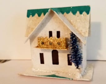White, Putz House, Mica House, Castle, snowy Christmas Ornament,  decoration, coconut, 1950s,Christmas Ornament,Light Cover,Christmas,tree