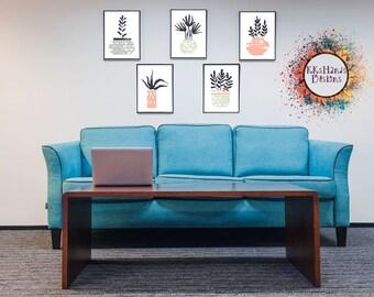 Modern Plant Posters-Succulents-Digital Download