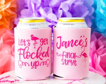 Let's Get Flocked, Bachelorette Party, Flamingo Bachelorette Favor, Beach Bachelorette, Custom Can Cooler, Girls Weekend, Hen Party