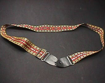 Vintage Very Fancy Embroidered Adjustable Guitar Shoulder Strap Ready to Use  26 GA