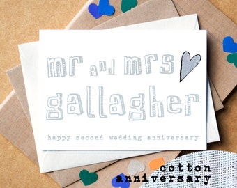 Second Anniversary Card - Cotton Anniversary Card - Personalised Mr and Mrs Card - wedding anniversary card - personalised anniversary card