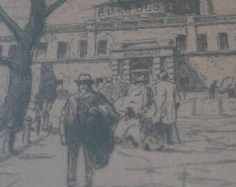 Etching of New York Aquarium, Artist Bernhardt Wall, Signed Etching, New York City, 1920s Art, Manhattan Scenes, Battery Park