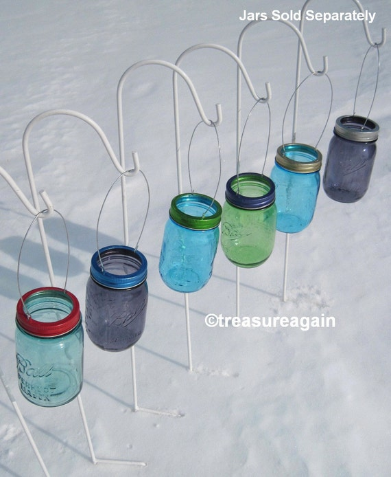 Hanging color mason jar lids diy garden lights hanging outdoor hanging color mason jar lids diy garden lights hanging outdoor lighting or flower vase no jars from treasureagain on etsy studio aloadofball Image collections