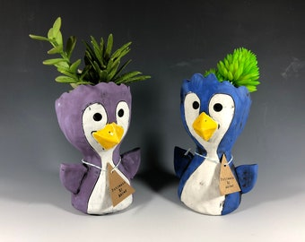 Little Pothead Peeps Penguins // Small Planters // Birds // Arctic // Succulent Pot // Home Decor // Handmade // One of a Kind // unique