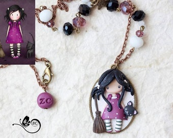 polymer clay necklace / fairy/ fimo/ clay / zingara creativa/gorjuss collection