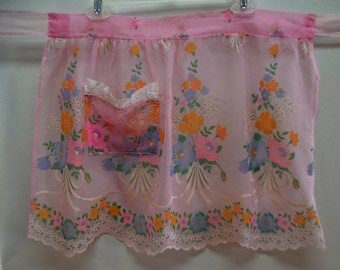 half apron, apron retro apron, womens aprons, vintage apron, apron women, cooking apron, organdy apron, kitchen apron, pink apron
