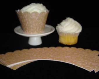 Tan Breast Cancer Ribbon Cupcake Wrappers, Cupcake Papers, Cupcake Container, Breast Cancer Awareness, Breast Cancer Survivor