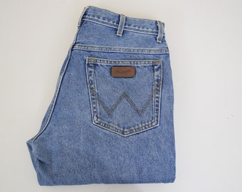 """Vintage Wrangler jeans W- 34"""" L- 32"""" blue denim mens jeans 70's 80's 90's Grunge dad jeans"""