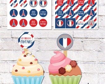 French Theme Cupcake Toppers and Cake Bunting. French Theme Party Decor. Printable / DIY.  *DIGITAL DOWNLOAD*