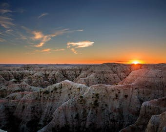 South Dakota Photography Print - Fine Art Picture of Sunset in Badlands Western Landscape Nature Home Decor 4x6 to 40x45