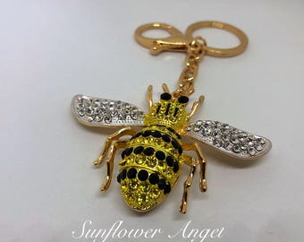 Large bumble Queen bee diamante keyring or bag charm, in gold with ring and bag clip.